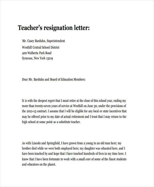 teacher personal resignation letter in pdf