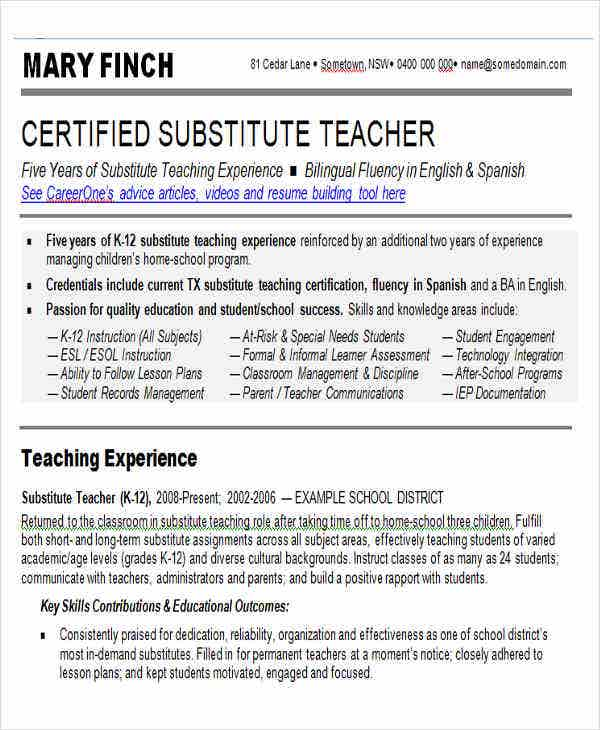 Substitute Teacher Resume Skills