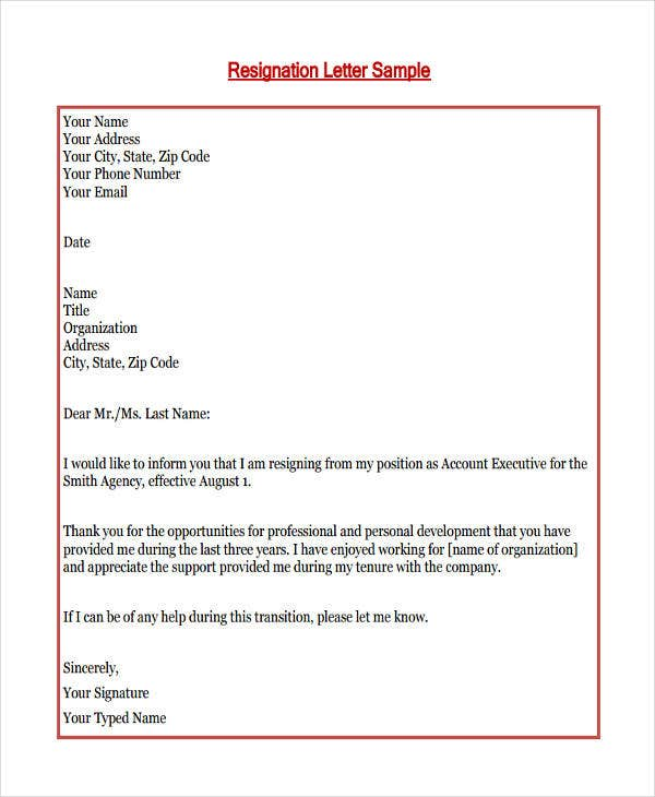 Personal Resignation Letter In PDF