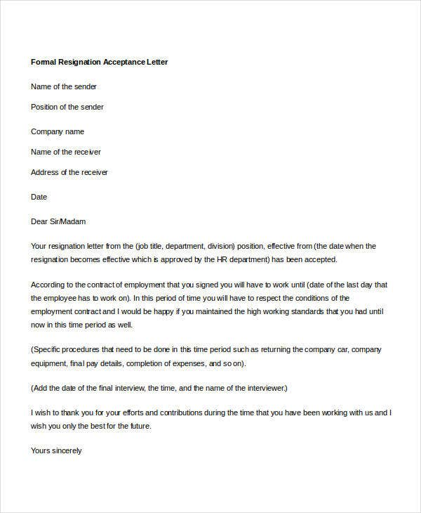 Formal Resignation Letters  Free Sample Example Format