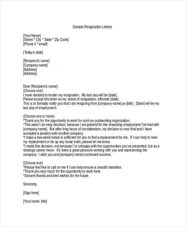 Personal Resignation Letter In Doc