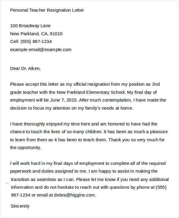 personal teacher resignation letter