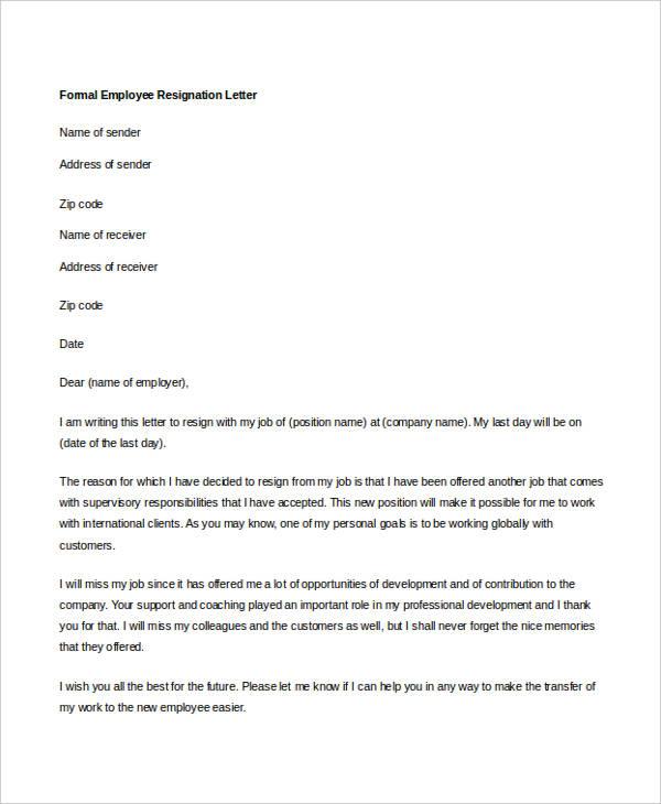 formal employee resignation letter