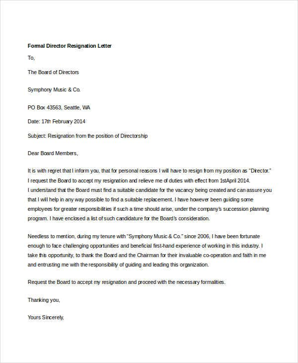 10+ Formal Resignation Letters - Free Sample, Example Format