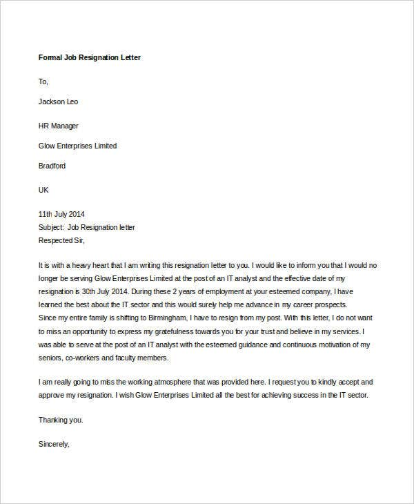 10 Formal Resignation Letters Free Sample Example Format – Job Resignation Letters