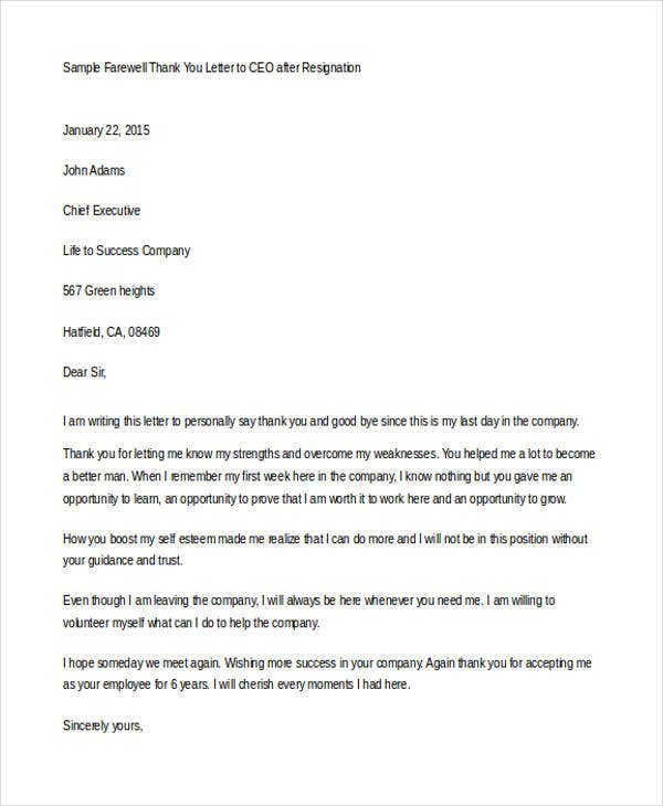 Superb Thank You Letter To CEO After Resignation