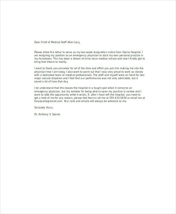 profession medical resignation letter