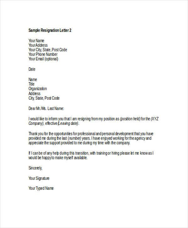 Thank-You Resignation Letter Templates - 8+ Free Word, Pdf Format