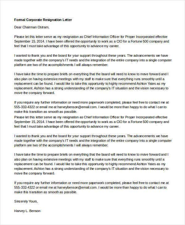 formal corporate resignation letter