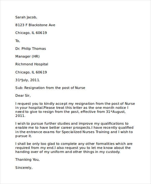 free nurse resignation letter1
