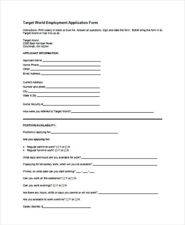 49 Job Application Form Templates – Target Job Application