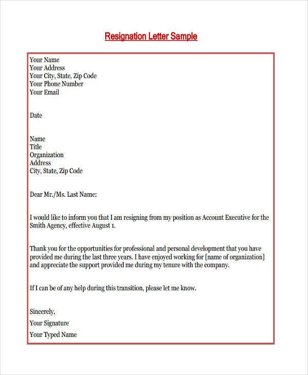 thank you resignation letter in pdf