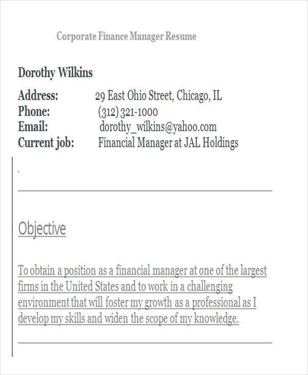 corporate finance manager resume