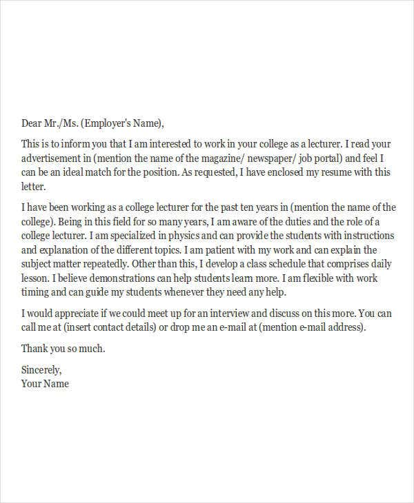 College teacher cover letter sample | cover letter templates.