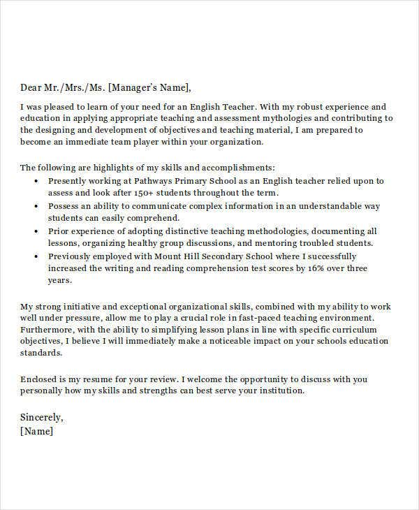 5 Job Application Letters For Teacher Free Sample Example