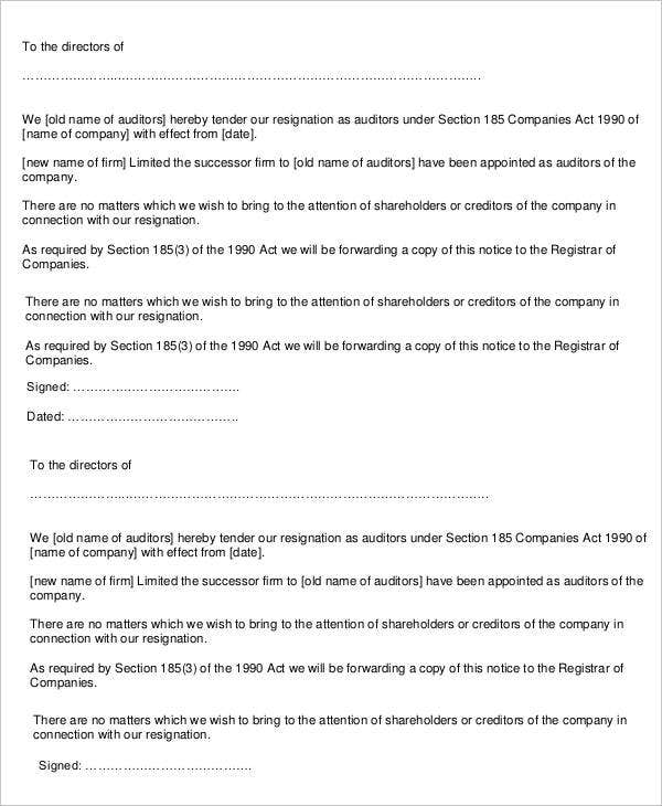 director resignation letter templates 9 free pdf word format