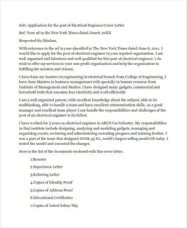 Job Application Letter For Electrical Engineer