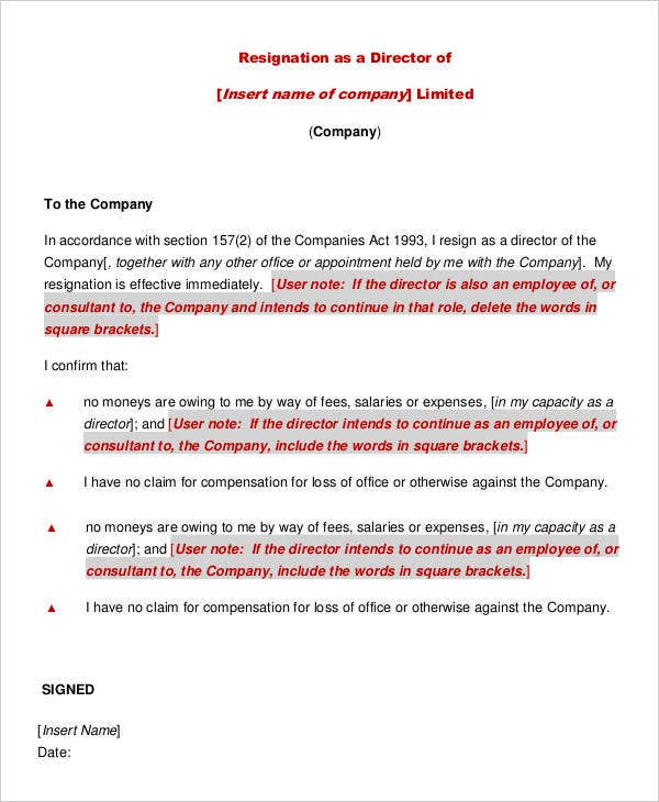 Director Resignation Letter Templates 9 Free PDF Word Format – Resignation Letter in It Company