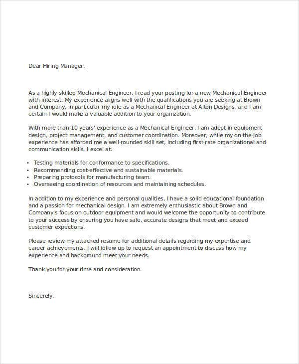 job cover letter engineer