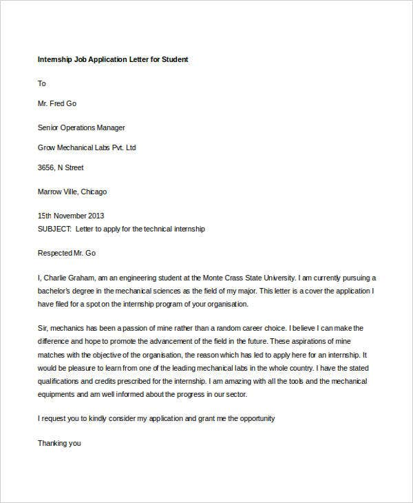 internship job application letter for student