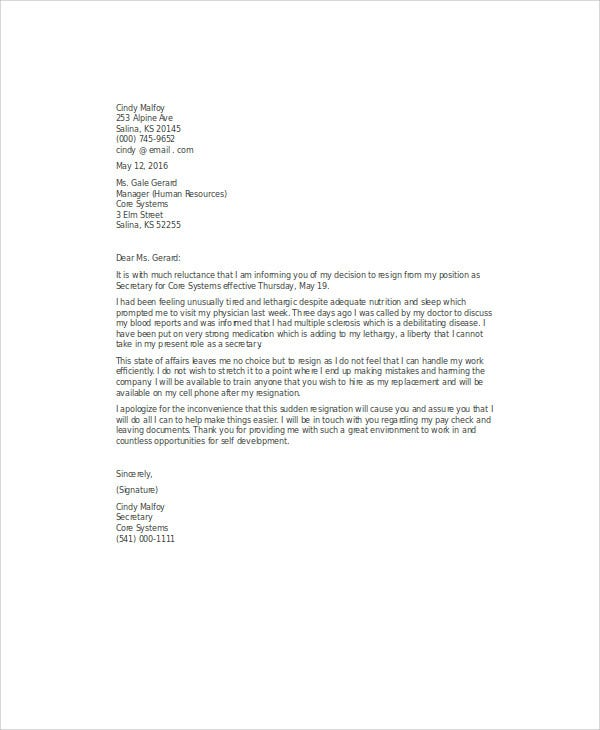 sample medical resignation letter