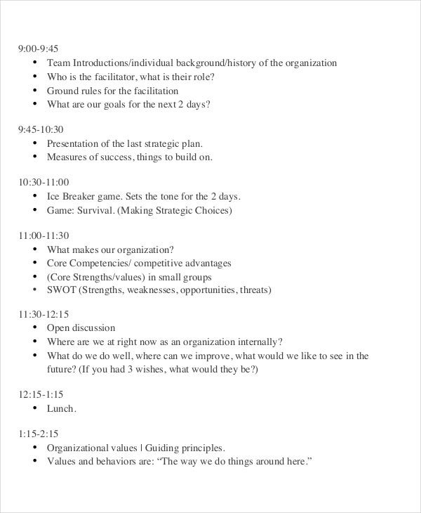 8+ Sample Planning Agenda - Free Sample, Example Format Download ...