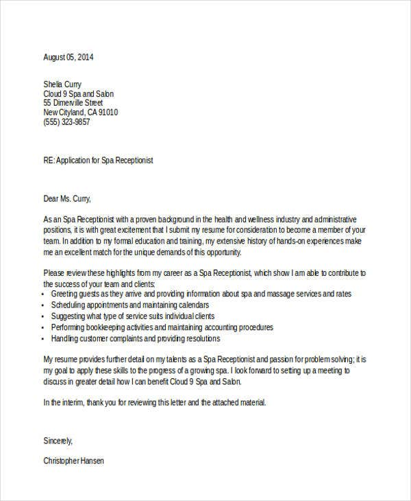 job application letter for spa receptionist