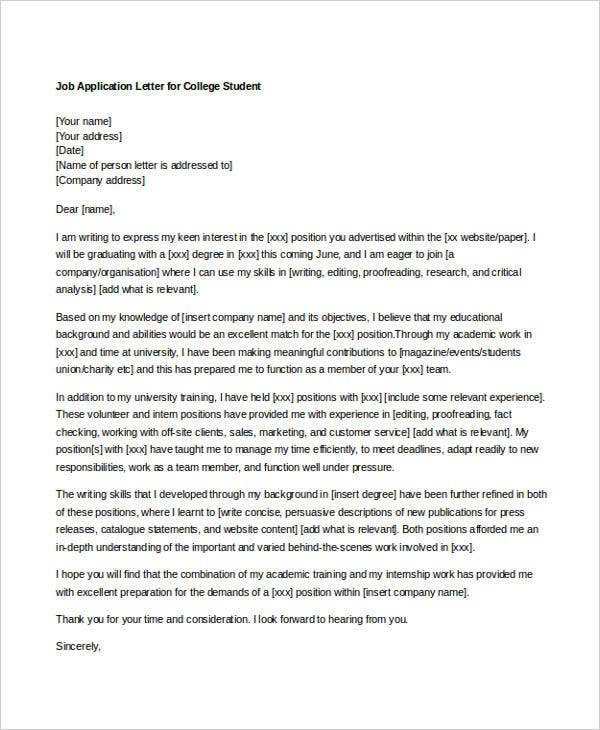 10 Sample Job Application Letters For Student Free Sample