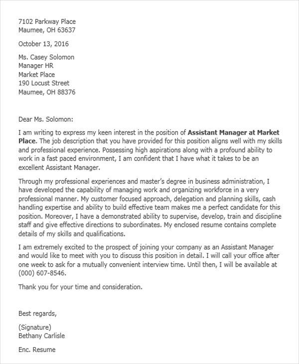 Job Application Letter For Assistant Manager