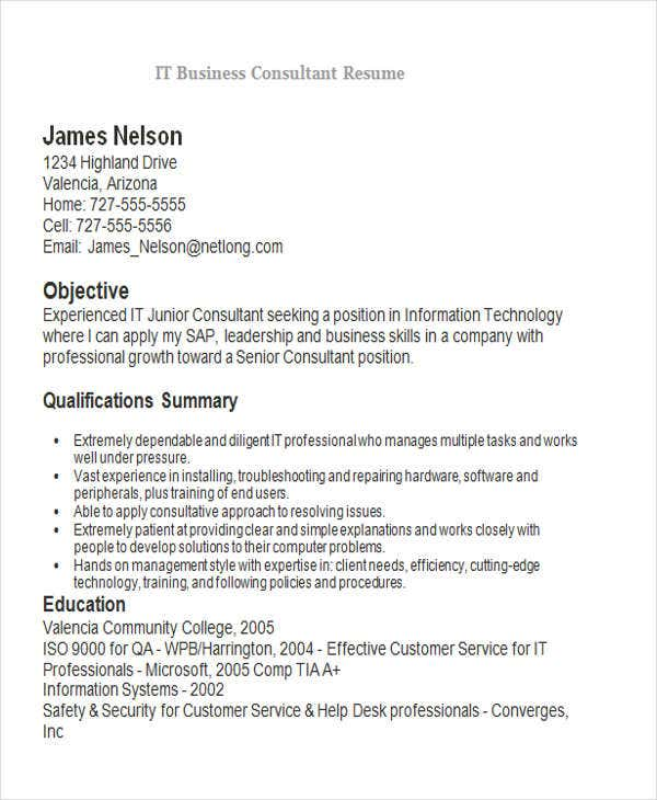 it business consultant resume sample