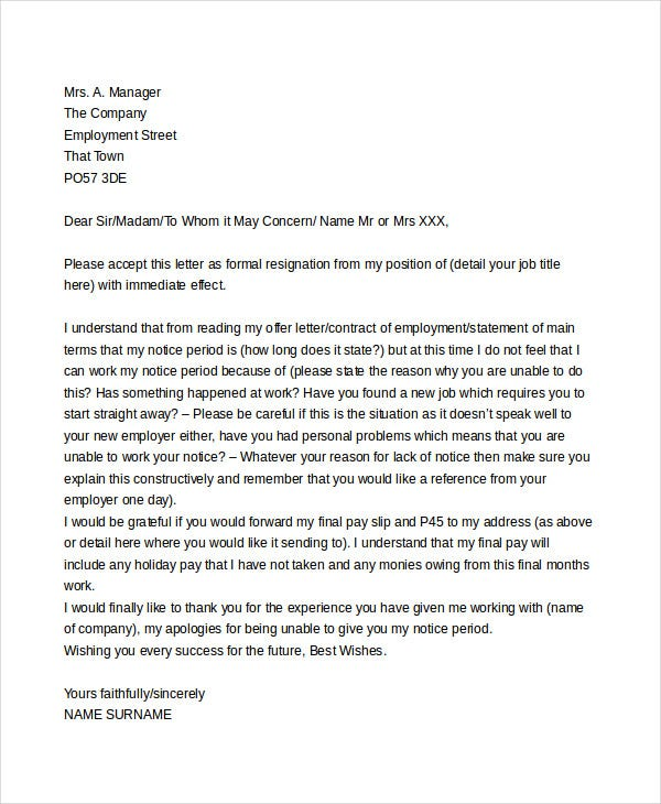 Immediate Resignation Letter Templates 5 Free Word PDF Format – Immediate Resignation Letter