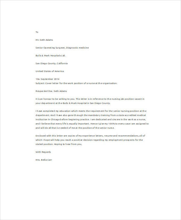 Example Of Job Application Letter For Nurse