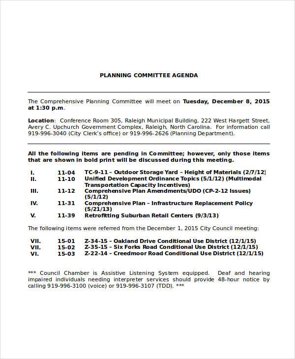 planning committee agenda