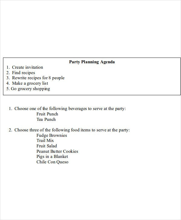party planning agenda example
