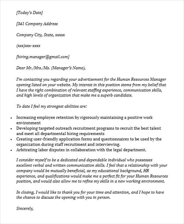 job application letter for hr manager