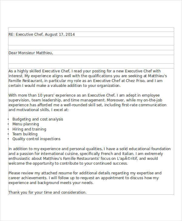 8 job application letters for chef free sample example format