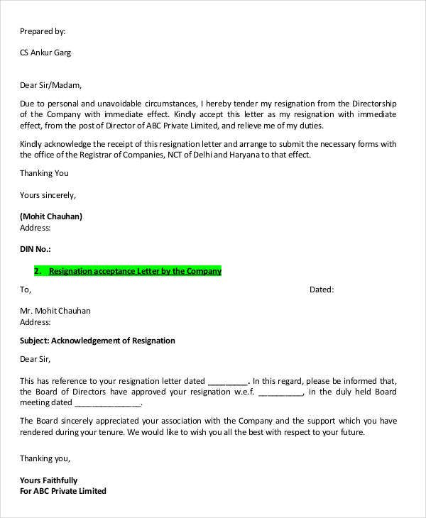 Director Resignation Letter Templates 7 Free Pdf Word