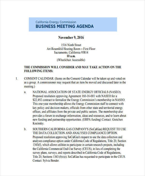 Business Meeting Agenda Format