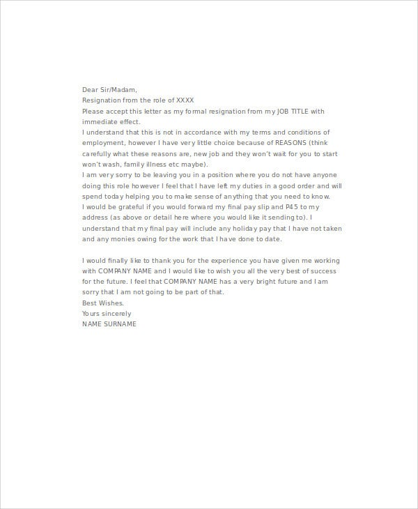 8 sample immediate resignation letters free sample example immediate email resignation letter icover details file format spiritdancerdesigns