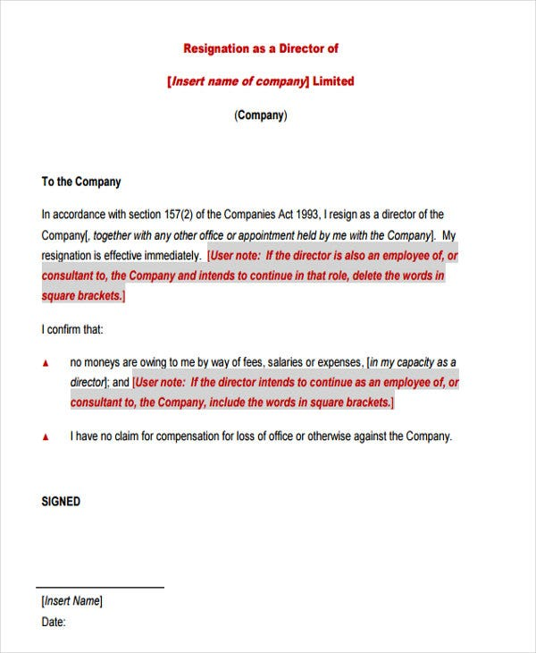 corporate director resignation letter