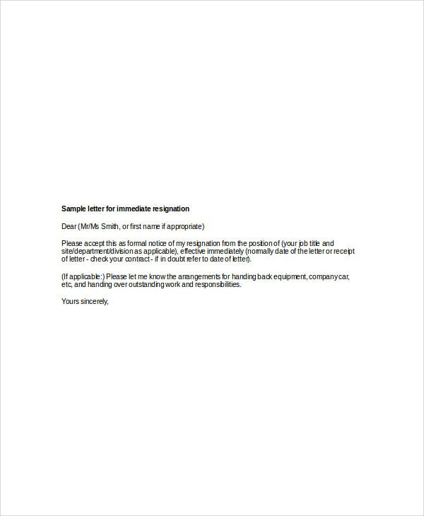 8 sample immediate resignation letters free sample example effective immediate resignation letter spiritdancerdesigns Images