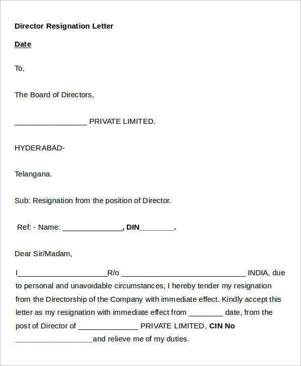 Director Resignation Letter in Word