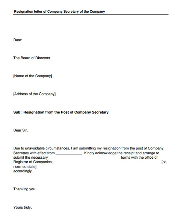 Sample Corporate Resignation Letters   Free Sample Example