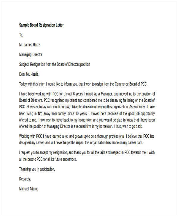 board member resignation letter samples 7 board resignation letters free sample example