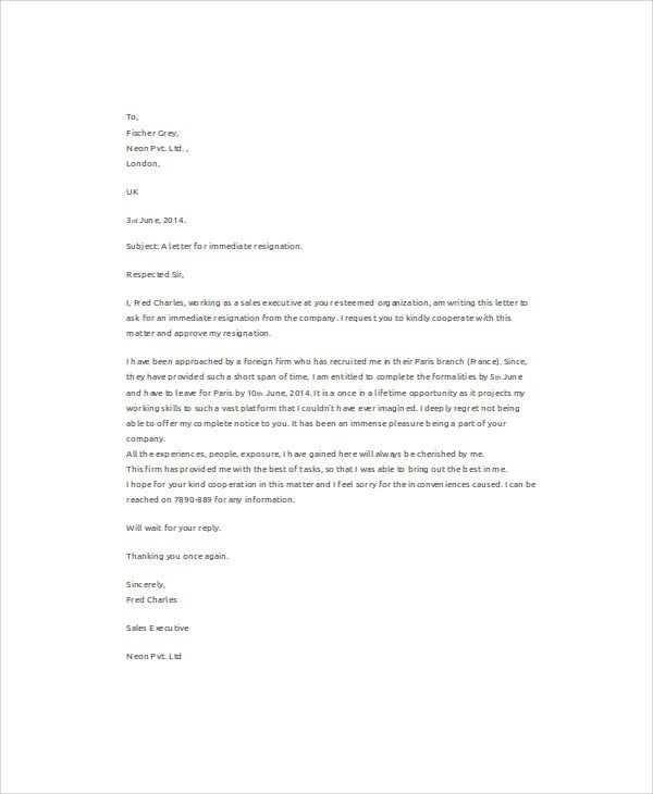 sales executive immediate resignation letter