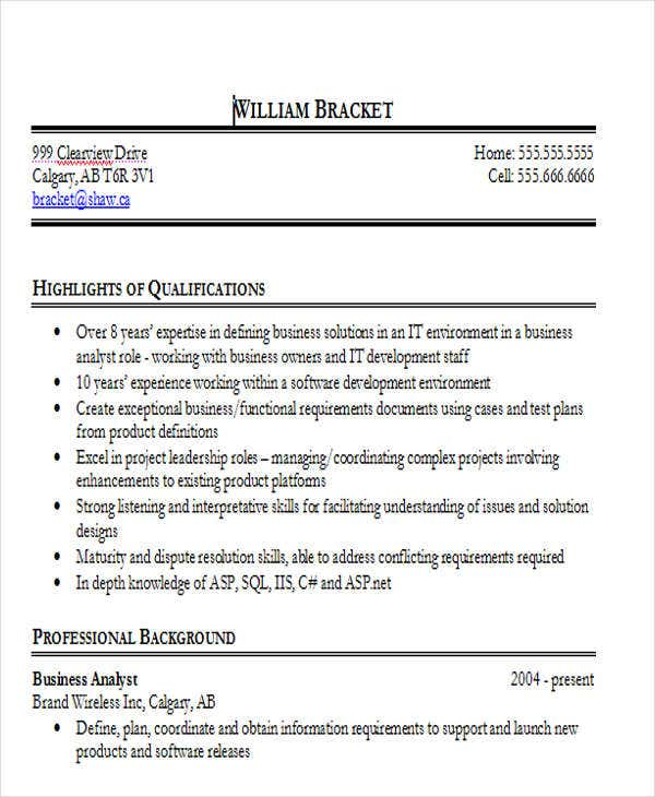 business analyst resume doc