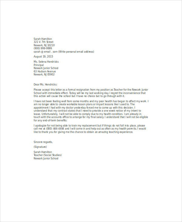 Sample Immediate Resignation Letters  Free Sample Example