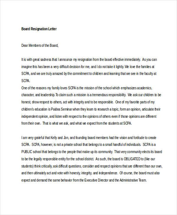 7 board resignation letters free sample example format download board resignation letter example expocarfo