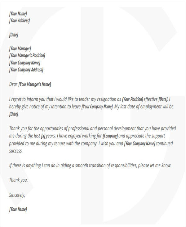 corporate employee resignation letter