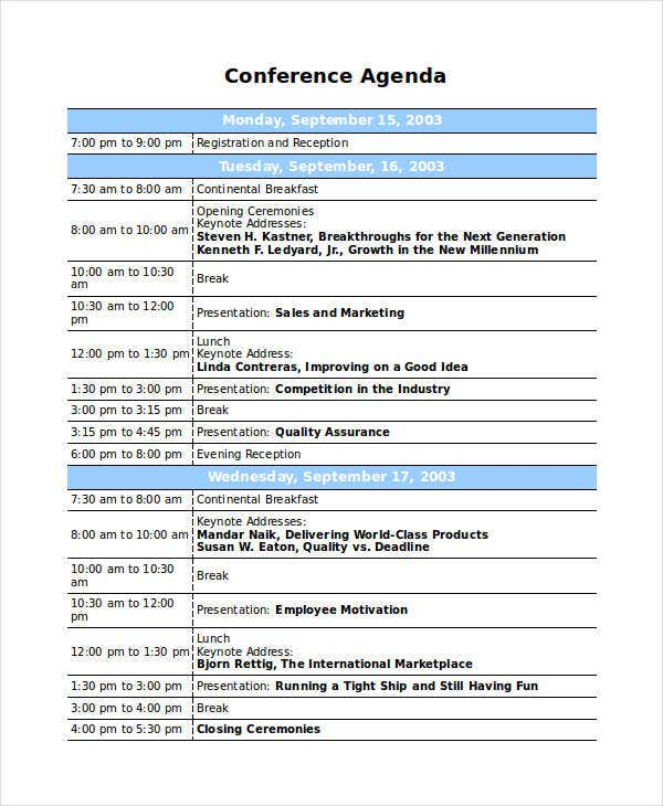 Sample Conference Agenda Informal Meeting Minutes Template Free